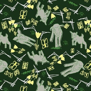 Yellow Chalk and Paper Goats - Dark Green with White