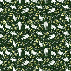 Yellow Chalk and White Paper Goats - Dark Green
