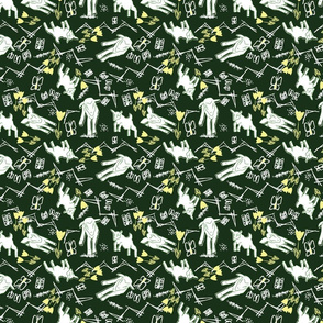 White Chalk and Paper Goats - Dark Green