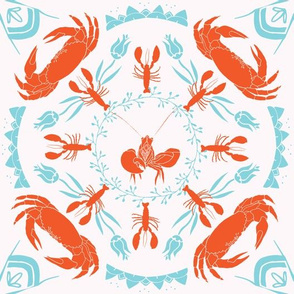 Nautical Mandala - Orange | White | Turquoise