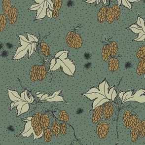 mustard hops and spiky burr on a dark green background.