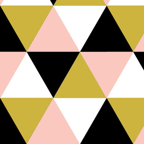 Black, gold, blush Triangle Cheater quilt - baby blanket