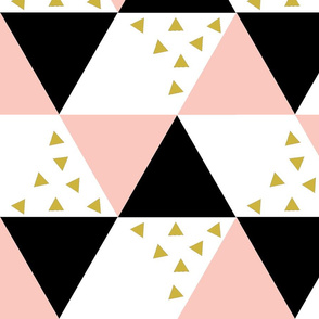 Blush Black Gold Triangle Cheater Quilt - Triangle Baby Blanket