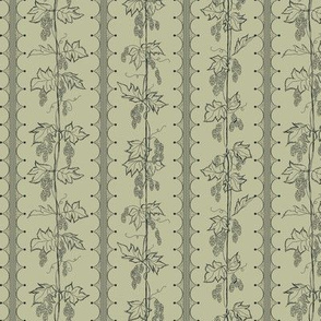Charcoal Hops in Stripes on a pale green BG