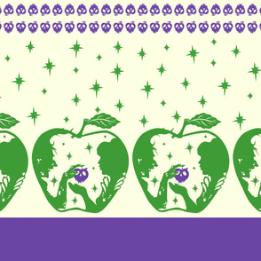 Snow White Purple Green Halloween Apple Border Print