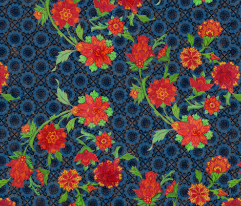 Red flowers Blue background