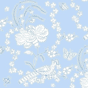 Edith Swan Neck Toile blueberry reversed
