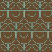 MCM Tulip Line Brown & Aqua