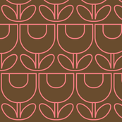 MCM Tulip Line Pink on Brown