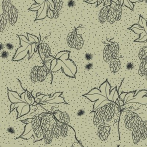 outlines of hop and burr on a pale green BG