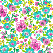 Ditsy Flowers Floral with Pink