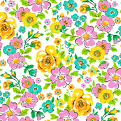 Ditsy Flowers Yellow,Pink