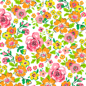 Ditsy Flowers Pink,Orange