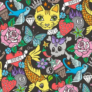 Tattoo Cats,Roses,Strawberry,Skulls