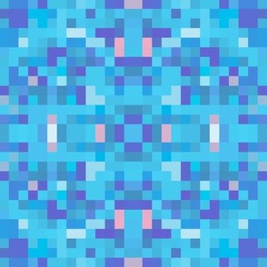 Aqua Blue Pixel Geometric