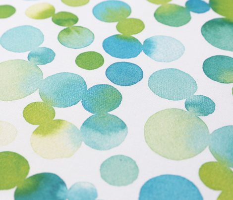 Watercolor Dots in Blue/Green