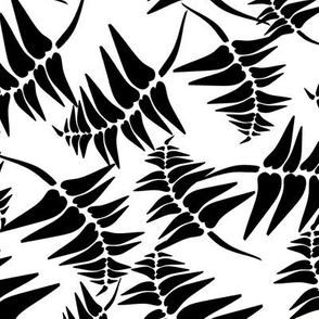 Fern Tile Black on White