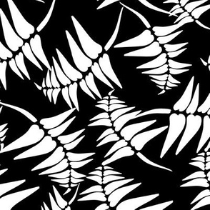 Fern tile White on Black