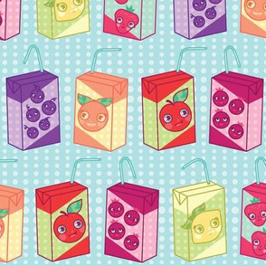 happy fruit juice boxes in blue