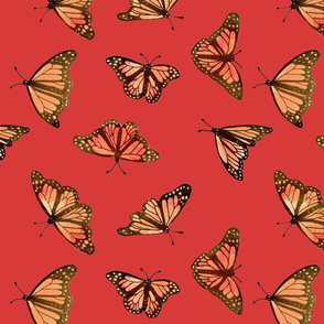 monarch butterfly_pastel red