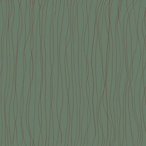 'Trails left in the Dew'  red lines on dark green BG