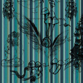 Botanical Sketch Turquoise Stripe