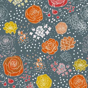 Red Navy Retro Flower WP