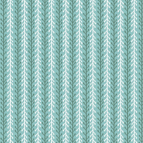 Kelp Ribbon Stripe in Green & White on Blue