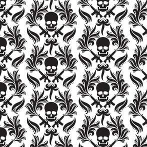 Black and white damask-skulls