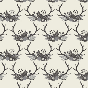 Floral Antlers - Ivory & Gray