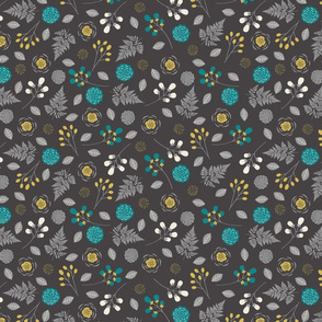 Bohemian Princess - Floral - Gray, Teal, & Yellow