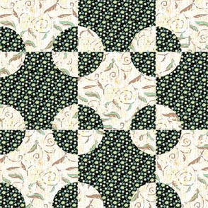 Green Steeplechase Block Quilt Cheater