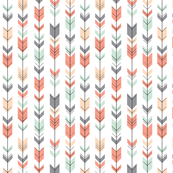 Fletching Arrows // Small Scale // Coral,Grey,Mint,Peach