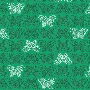 Moss Garden - Small Ordered Butterflies (Green Background)