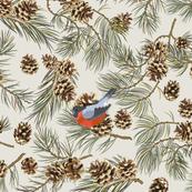 Pine Tree Bullfinch on Beige