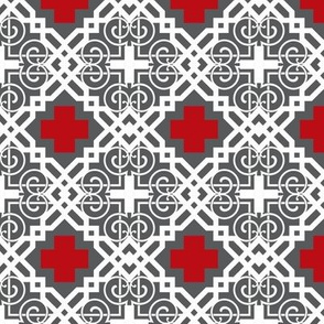 grey gridiron red cross