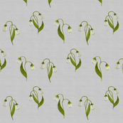 Lily in Green on Silver Linen