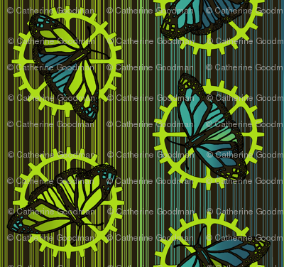 Steampunk_barcode_stripe_butterfly_motif_long_art_nouveau_3_preview