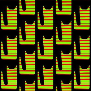 Striped Neon Cats Yellow Red