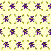 4.5x4.5 purple yellow grateful dead bears