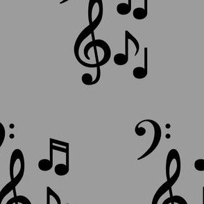 Black music notes with grey background