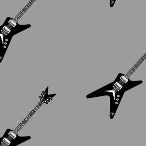 Black Guitar with Grey background