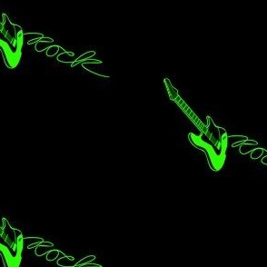 Rock Lime Green Guitar with Black Background
