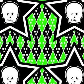 Skull with Punk Stars in Green Black