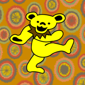 Yellow and Brown Dancing Bears Grateful Dead 2 Large