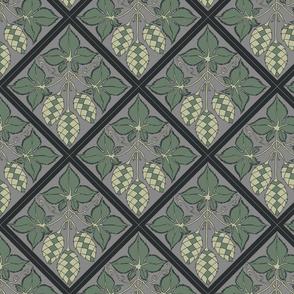 Diamond repeat of green hops on a grey BG