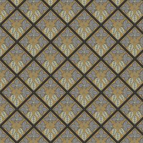 grey leaved hop diamonds on  a mustard BG