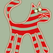 Candy Cane Cat Red Gray