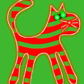 Striped Christmas Cat Red Green
