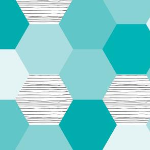 hexagon wholecloth // teal